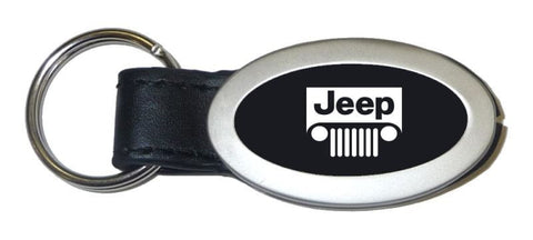 Jeep Grill Black Oval Leather Metal Key Chain Ring Tag Key Fob Logo Lanyard