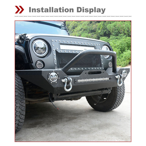 Textured Front Bumper W/LED Lights & Harness & Winch Plate For 07-17 Jeep JK