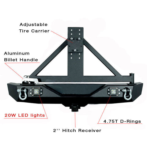 For 07-17 Jeep Wrangler Rear Bumper W/Tire Carrier + 2X 20W LED Lights + D-Ring