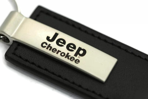 Jeep Cherokee Leather Key Chain Black Rectangular Key Ring Fob Lanyard