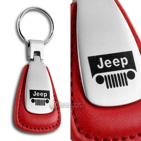 JEEP Logo Tear Drop Authentic Red Leather Key Fob Keyring Keychain Tag
