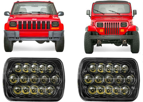 PAIR-LED-Headlights-For-1986-1995-Jeep-Wrangler-and-1984-2001-Cherokee