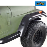 "87-96 Jeep Wrangler YJ TJ 6"" Wide Black Pocket Rivet Style Fender Flares Set"