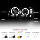 BLACK ANGEL EYE PROJECTOR HEADLAMP+LED TAIL LIGHT+SMOKE HALO FOG LAMP JEEP WG/WJ