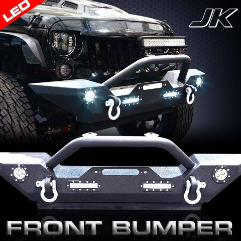 Rock Crawler Front Bumper LED D-Ring Winch Plate for Jeep Wrangler JK 2007-16