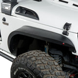 4Pcs Steel Upgraded Flat Style Front+Rear Fender Flares 07-18 Jeep Wrangler JK