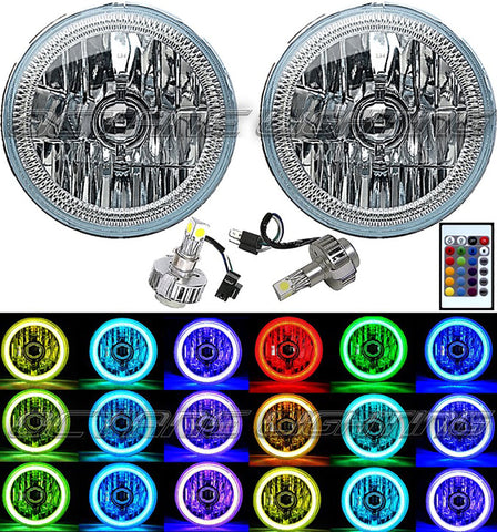 "(2) 76-16 Jeep Wrangler 7"" Multi-Color Change COB LED Halo Angel Eye Headlights Pair"