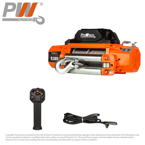 Prowinch 9500 lb 12V Winch Waterproof Roller Wireless Control Motor Power 6 HP