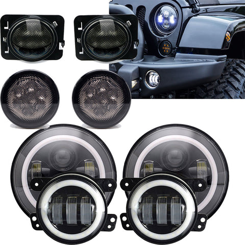7'' LED Headlight +4.5'' fog light +turn signal+fender light Jeep Wrangler JK