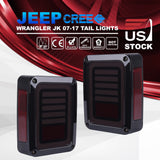 Pair Jeep Wrangler JK 07-17 LED Rear Tail Lights Smoke Reverse Brake Turn Signal