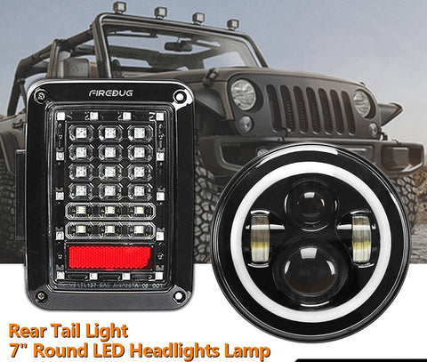 Firebug Wrangler JK Tail Lights + Jeep Wrangler Halo Headlights, LED Angel Eye
