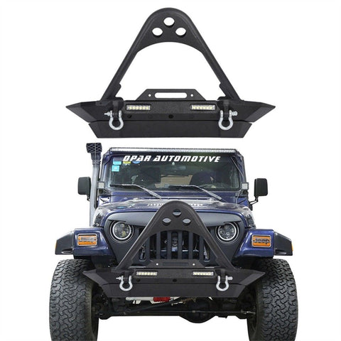 STINGER Front Bumper Built-In LED Light w/ D-Rings for 87-06 Jeep Wrangler TJ YJ