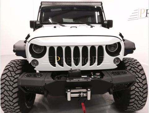 BEAST GRILLE Front Matte Black with Built-In Mesh for Jeep Wrangler JK