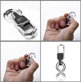 Auto Car Logo Jeep Emblem Key Chain Metal Alloy Leather