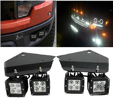4X-18W-LED-Spot-Light- Bumper-Holder-Mount-Brackets-fit-for-Ford-F-150-Raptor