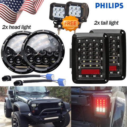 "For 07-16 Jeep JK Wrangler 7"" 150W LED Headlight DRL + Rear Brake Tail Light"
