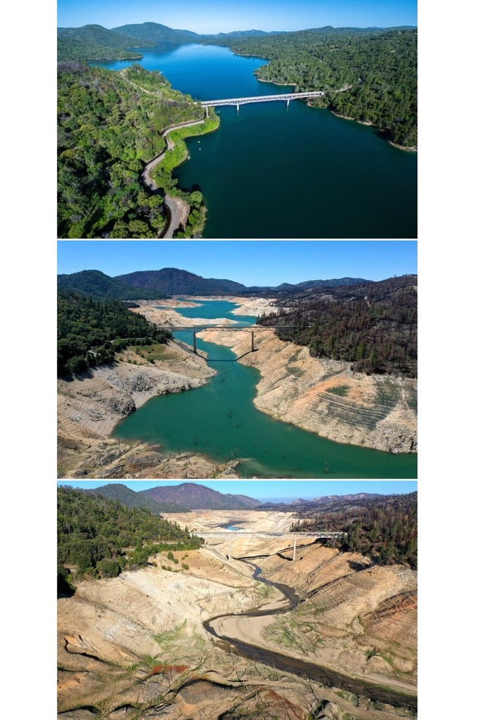 3 pictures of Lake Oroville, CA. Showing how it is Drying out. The first photo is from 3 years ago with High Rise level. The 2nd photo was taken April 27 2021 with almost zero water. The 3rd was taken July 19th 2021 showing zero water in the river !.