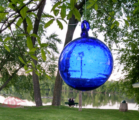Cobalt Blue Blown Glass Witch Ball-  Cobalt Blue Transparent Blown Glass Sphere~ INSIDE OUT Memory Ball - Hebron Glass