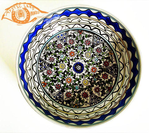 Blue White Yellow Large Deep Glazed Floral Ceramic Bowls - Deep Ponder - Handmade vintage from Palestine - Own&Adore Mystic Land Painted Creations