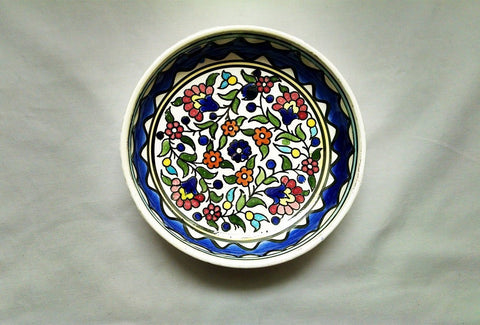 Ramadan Dining & Kitchen Decoration Red, Orange, Turquoise, Pharaoh Blue, Green , Yellow  Floral Glazed Round Ceramic Bowl. Own&Adore Mystic Land Painted Creations