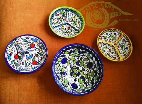 Ceramic Bowls - Mystic Land Painted - Colorful Ceramic Bowls Set Of 4