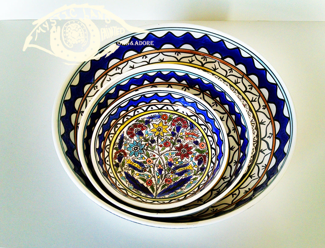 Ceramic Bowls - Set Of 3 Large Colored Bouquet Bowls