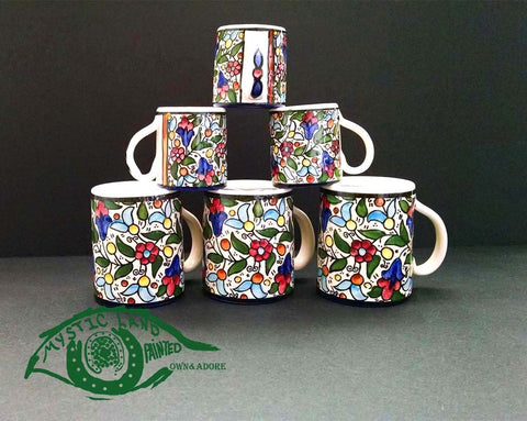 Ceramic Mugs - Set Of 6 ; Small Coffee Mugs For Turkish Arabic Coffee & Larger Tea Mugs
