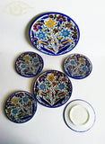 Turquoise Yellow Blue Red flat Glazed Ceramic Plates - Set of 6 glazed colorful ceramic plates Palestinian handmade Eid serving ware