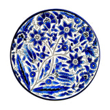 Pattern Navy Blue Bouquet and 2 main long leaves on white background. Cobalt Blue White Floral Plate Palestinian Arts