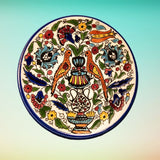 Pierced Ceramic Wall Plates - Couples Love - Orange Turquoise Blue green yellow green Floral pattern on Glazed Ceramic wall plate - Palestinian ceramic and pottery.