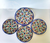Ceramic Plates - Free Hour - Set of 5 Glazed Ceramic Plates made in Palestine - Colorful Floral Pattern - Own&Adore Mystic Land Painted Creations