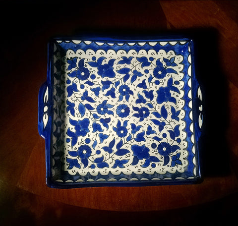 White background & Blue Floral patterns on a Glazed Ceramic Square Shaped Tray - Own&Adore Mystic Land Painted Creations