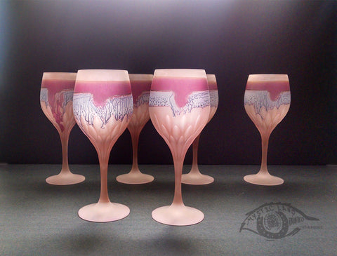 Jupiter Rings  ALL PURPOSE HEBRON GLASS ART PINK STEMWARE Set of 6. New Vintage Rueven Nouveau Art Glass Wedding Party Essentials. Own&Adore
