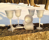 White Silver Creamy Lead Crystal Glass Stemware - Cocktail Glass ~ Trinkles ~ Own&Adore Mystic Land Painted Creations