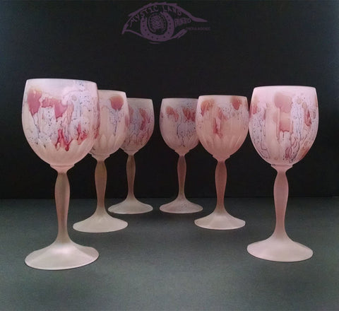 Set of 6 Goblets with Spear shaped cuts on cup base. Permanent Baby Pink base Splashed Red Stains. Church bell Cheer sound Crystal stemware. Nouveau Glass Hebron Art