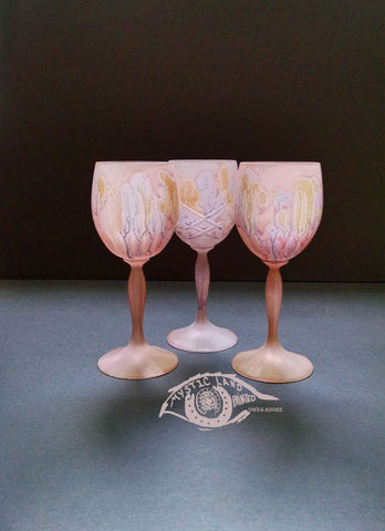 Crystal Stemware - Pink Stained Cut Crystal Glass Goblets _ Golden Streams ~ Hebron Glass