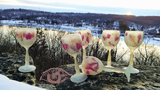 Sunset Star ~ Creamy background and Magenta and Golden Splashes Colored Cut Lead Crystal Stemware Glasses - Own&Adore Mystic Land Painted Creations