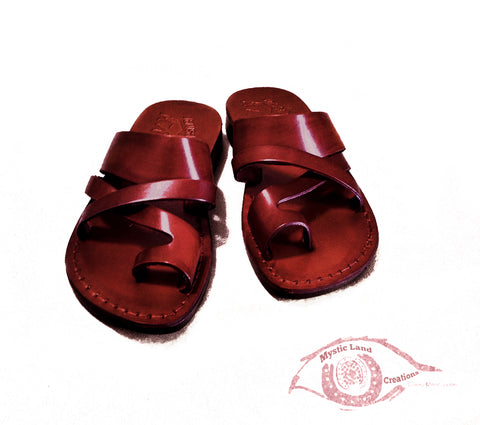 Jarusalem Sandal - Toe Loop Strappy Leather Slipper