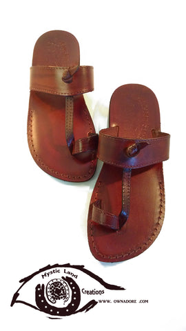 Jarusalem Sandal - Toe Loop Thong Strap Leather Slipper