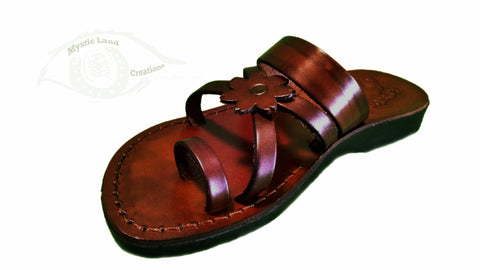 Jerusalem Sandal - Sandalia Toe Loop De Flor Lisa, Color Rufo