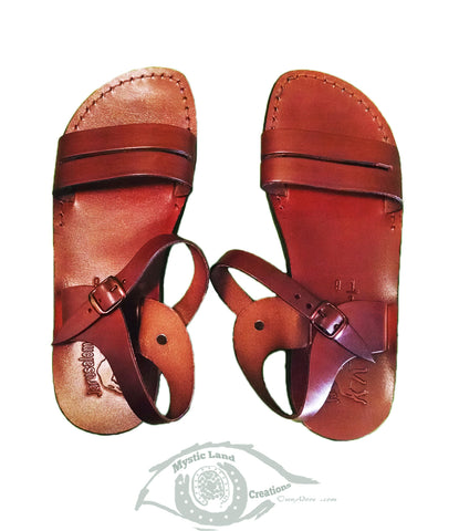 Jerusalem Sandal - Strappy Buckle Real Leather Sandals Sizes In Cm