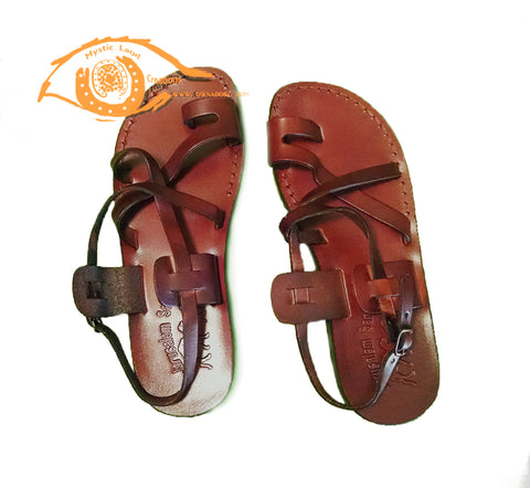 Jerusalem Sandal - Strappy Buckle Toe Loop Leather Sandals Sizes In Cm