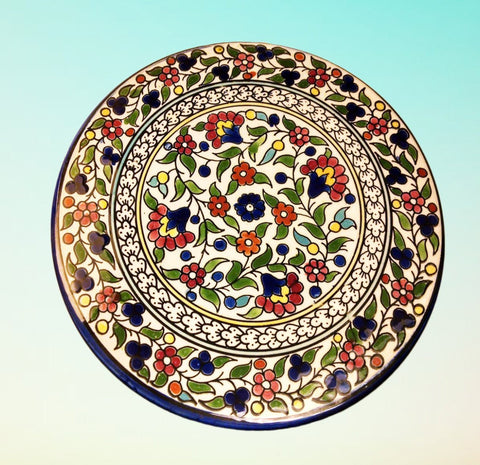 Red Floral Palestinian Ceramic Plate