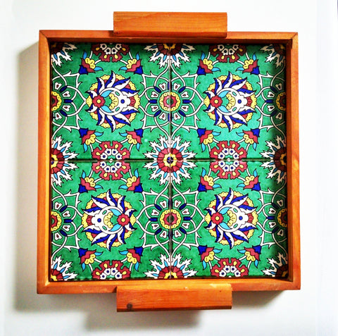Serving Trays - Green Teleido Tiles Tray