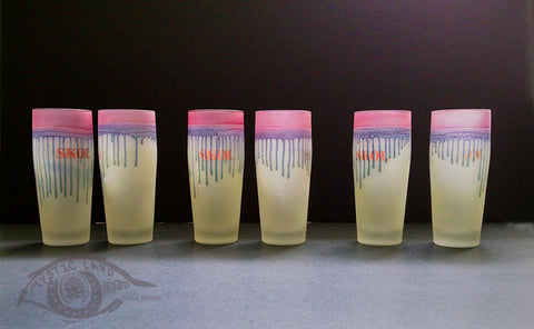 "longdesc=""Palestinian Art - set of 6 Stained Glass Tumblers - Drips ; SKOL Brand glass cups . Color : Lime background and pink dripping rim with overall golden shimmering splash - Colorful Juice Sets - Personalized unique Wedding Glass cups - Hebron Glass"""