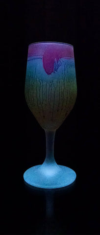 Tulip Glass - Caramel Love - Red Rim Retro Tulip Shaped Stemware _ MysticLandPainted - Hebron Glass - Palestinian Arts