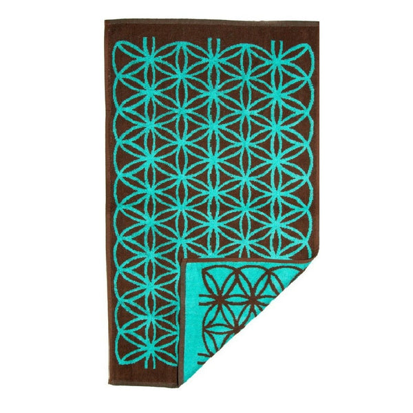 Flower of Life Towel (Brown and Turquoise)
