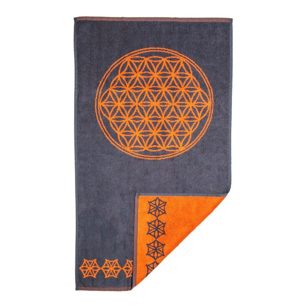 Flower of Life Towel (Charcoal and Orange)