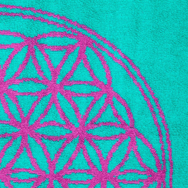 Flower of Life Towel (Turquoise and Magenta)