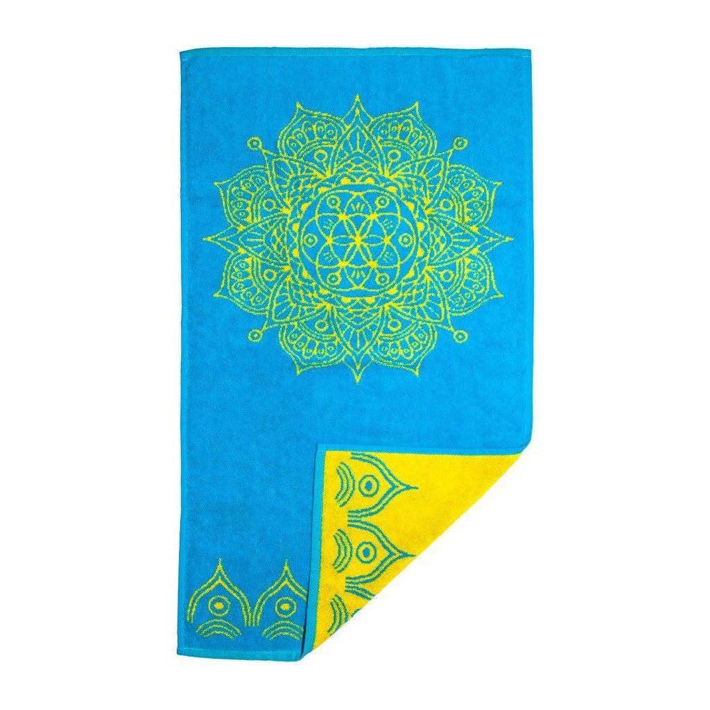 Mandala Towel (Cerulean Blue and Yellow)